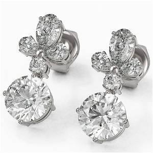 2.75 ctw Diamond Designer Earrings 18K White Gold -