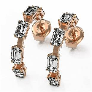 3.5 ctw Emerald Cut Diamond Designer Earrings 18K Rose