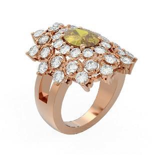 5.52 ctw Canary Citrine & Diamond Ring 18K Rose Gold -