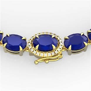 54.25 ctw Sapphire & VS/SI Diamond Micro Pave Necklace