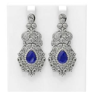 13.62 ctw Sapphire & Diamond Earrings 18K White Gold -