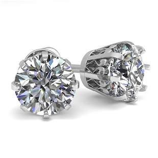 2.0 ctw VS/SI Diamond Stud Earrings Vintage 14k White