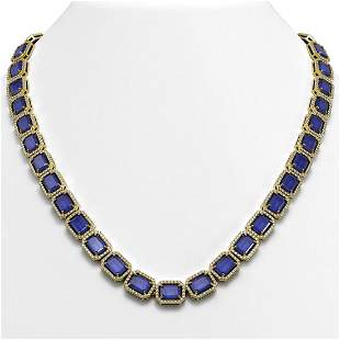 58.59 ctw Sapphire & Diamond Micro Pave Halo Necklace