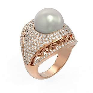 2.5 ctw Diamond & Pearl Ring 18K Rose Gold - REF-270R4K