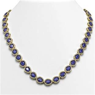 45.93 ctw Sapphire & Diamond Micro Pave Halo Necklace