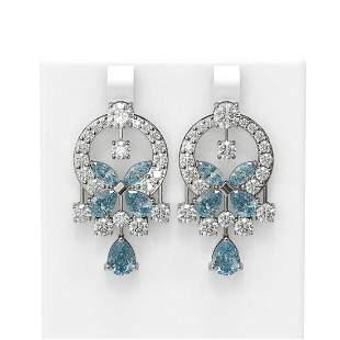 13.98 ctw Aquamarine & Diamond Earrings 18K White Gold