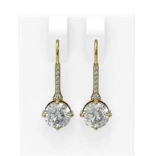 2.16 ctw Diamond Earrings 18K Yellow Gold - REF-532W3H