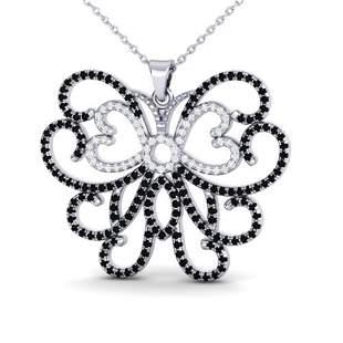 2 ctw Black & Micro Pave Diamond NECKALCE Butterfly 14k