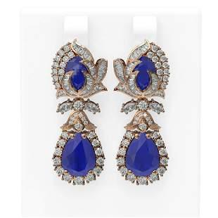 14.63 ctw Sapphire & Diamond Earrings 18K Rose Gold -