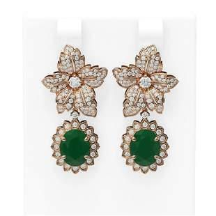 9.09 ctw Emerald & Diamond Earrings 18K Rose Gold -