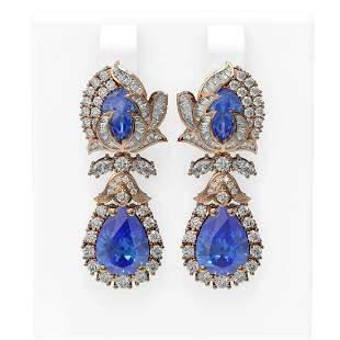 13.11 ctw Tanzanite & Diamond Earrings 18K Rose Gold -