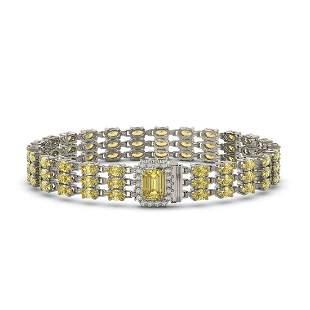 20.93 ctw Citrine & Diamond Bracelet 14K White Gold -
