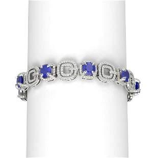 26.1 ctw Sapphire & Diamond Bracelet 18K White Gold -