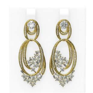 4.33 ctw Diamond Earrings 18K Yellow Gold - REF-490K9Y