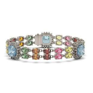 20.67 ctw Sapphire & Diamond Bracelet 14K White Gold -