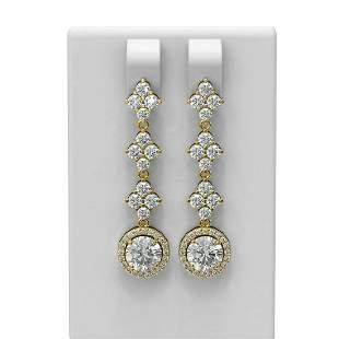 3.85 ctw Diamond Earrings 18K Yellow Gold - REF-415G3W
