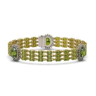 29.33 ctw Tourmaline & Diamond Bracelet 14K Yellow Gold