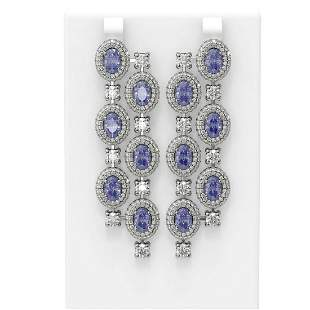 20.40 ctw Tanzanite & Diamond Earrings 18K White Gold -