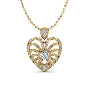 3 ctw Micro Pave VS/SI Diamond Certified Heart Necklace