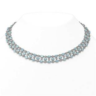 61.73 ctw Sky Topaz & Diamond Necklace 10K White Gold -