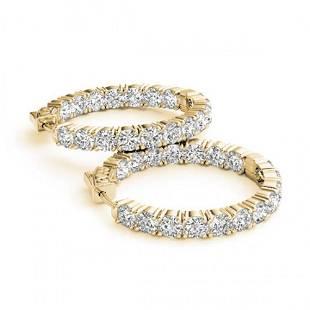 7.5 ctw Diamond VS/SI 37 MM Hoop Earrings 14k Yellow