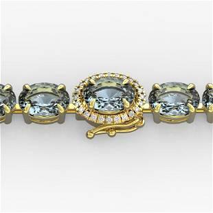 15.25 ctw Aquamarine & Diamond Eternity Micro Bracelet