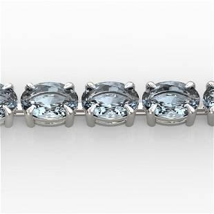 20 ctw Aquamarine Eternity Designer Bracelet 14k White