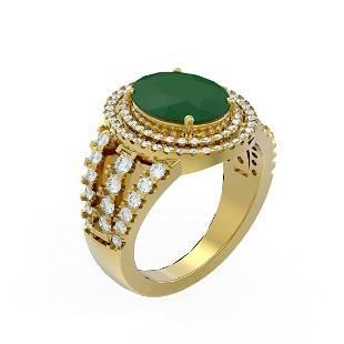 5.39 ctw Emerald & Diamond Ring 18K Yellow Gold -