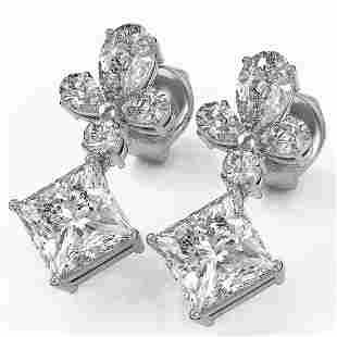 2.75 ctw Princess Cut Diamond Designer Earrings 18K