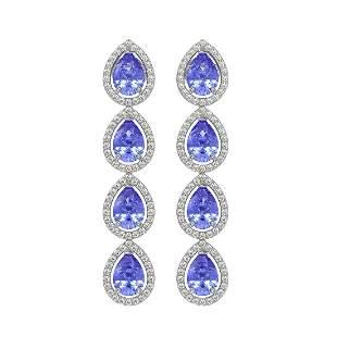 9.01 ctw Tanzanite & Diamond Micro Pave Halo Earrings