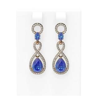 8.75 ctw Tanzanite & Diamond Earrings 18K Rose Gold -