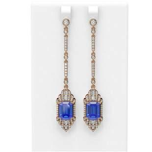 11.15 ctw Tanzanite & Diamond Earrings 18K Rose Gold -