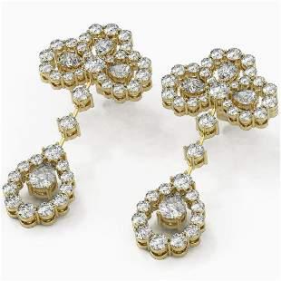 6.5 ctw Pear Cut Diamond Designer Earrings 18K Yellow