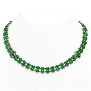 27.65 ctw Jade & Diamond Necklace 14K White Gold -