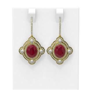 9.96 ctw Ruby & Diamond Earrings 18K Yellow Gold -