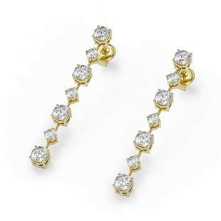 2.88 ctw Cushion Cut Diamond Designer Earrings 18K
