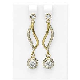 1.86 ctw Diamond Earrings 18K Yellow Gold - REF-240A2N
