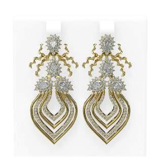 4.21 ctw Diamond Earrings 18K Yellow Gold - REF-488F2M