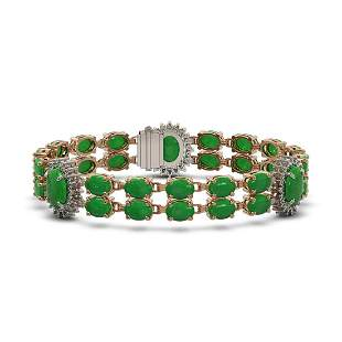 14.05 ctw Jade & Diamond Bracelet 14K Rose Gold -