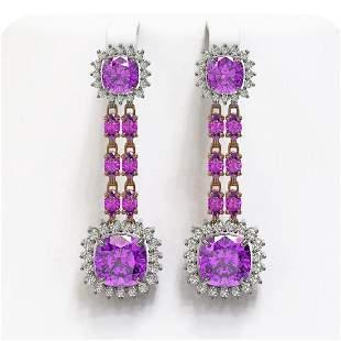 18.96 ctw Amethyst & Diamond Earrings 14K Rose Gold -