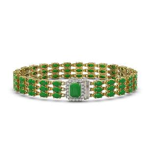 18.41 ctw Jade & Diamond Bracelet 14K Yellow Gold -