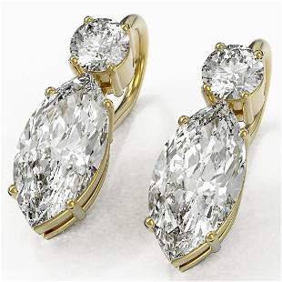 2.5 ctw Marquise Cut Diamond Designer Earrings 18K