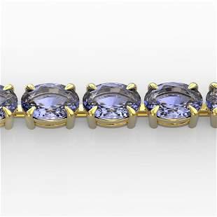 24 ctw Tanzanite Eternity Designer Bracelet 14k Yellow