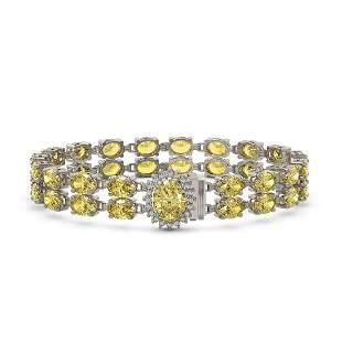 14.14 ctw Citrine & Diamond Bracelet 14K White Gold -