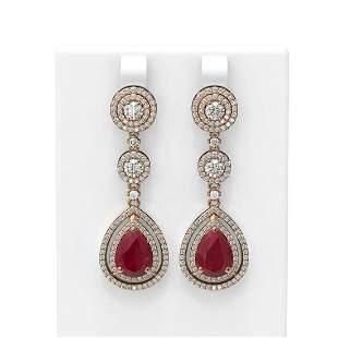 10.92 ctw Ruby & Diamond Earrings 18K Rose Gold -
