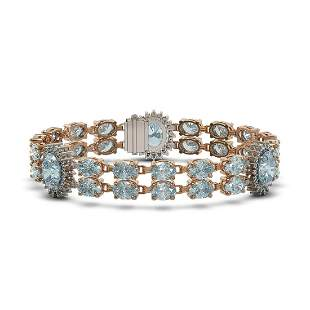 15.72 ctw Aquamarine & Diamond Bracelet 14K Rose Gold -
