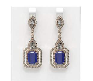 16.57 ctw Sapphire & Diamond Earrings 18K Rose Gold -