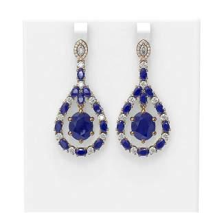 25.7 ctw Sapphire & Diamond Earrings 18K Rose Gold -