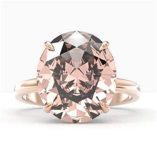 9 ctw Morganite Designer Solitaire Engagment Ring 14k