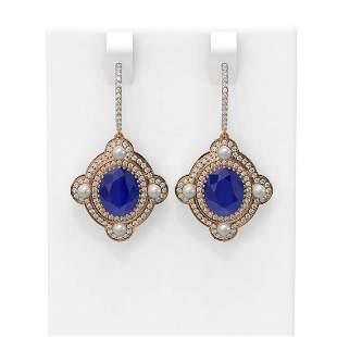 9.96 ctw Sapphire & Diamond Earrings 18K Rose Gold -